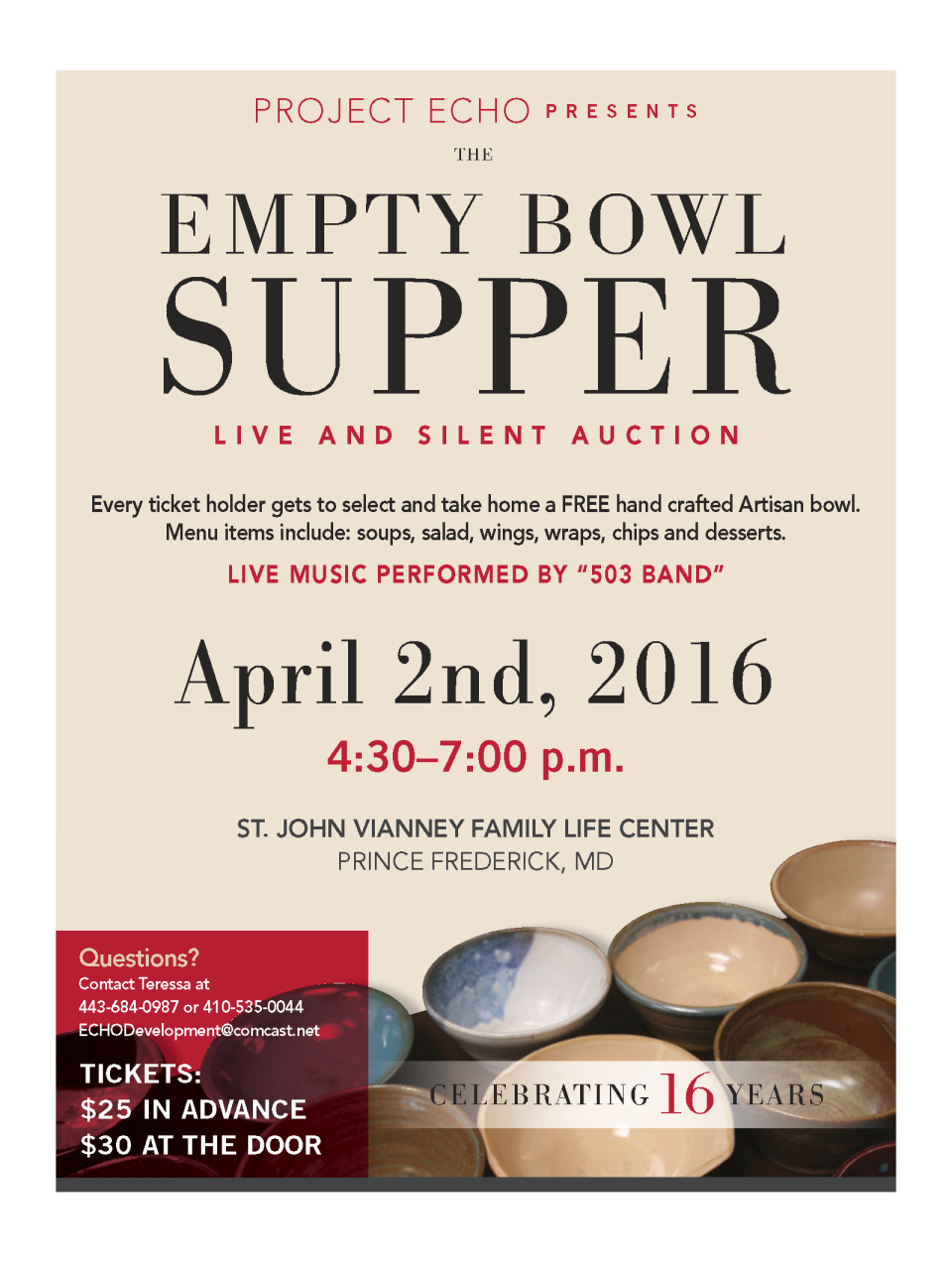 Project ECHO's 16th annual Empty Bowl Supper | Middleham and