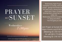 prayer at sunset wednesdays banner syler